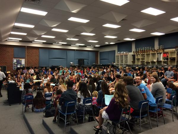 This is a random post I found. But just imagine filling up our room like this. It takes ALL of us. YOU need to tell people that being in band is a good thing. WE need to teach, encourage, mentor and recruit. WE CAN DO THIS! Here's a thought..... let's make them build us a NEW band room because we don't fit.